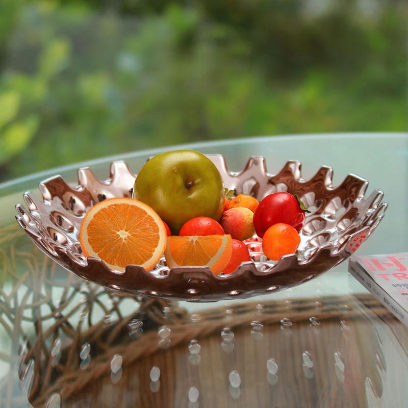 家居飾品鍍銀水果盤歐式果盤陶瓷水果盤歐式果盤奢華 客廳