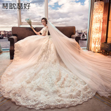 Wedding dress 2019 new bride word shoulder thin slim long tail Hepburn star network red flashing