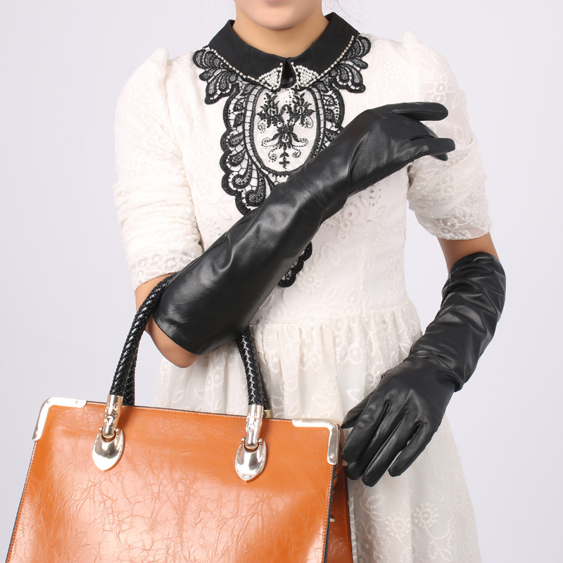 Korean spring and summer gloves cute touch screen Pu black long imitation leather over elbow false sleeve warm arm cover