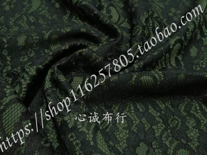 弹力抗皱 军绿色重磅复合蕾丝布料 风衣外套连衣裙时装套装旗袍