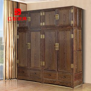 红木家具鸡翅木大衣柜素面顶箱柜防古实木衣柜卧室组合衣厨储物柜