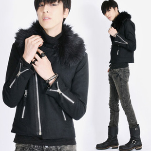 2014 autumn tide models thick woolen jacket Slim Korean version tide leisure wild jacket male coat