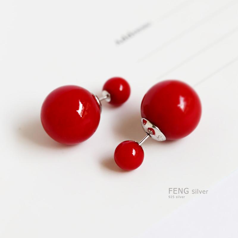 烽之銀s925純銀紅色珍珠雙麵耳釘耳環韓國氣質簡約前後大小耳飾女