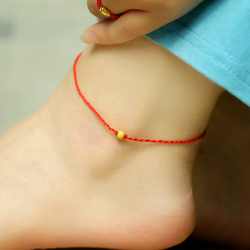 Rooyoor/ как радость золото ножная цепь скраб бисер чистое золото бисер хорошо красная строка натальный подарок мужской и женщины