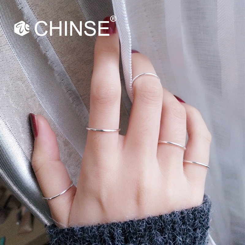 s925纯银关节戒指女学生极简约细尾戒日韩国网红个性潮人食指指环