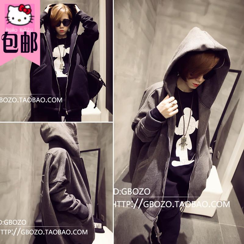 Корейский BF Ветер в Гонконге контракт шестиконечная звезда с капюшоном мягкий флис свитер пальто женщин размер вспышки 2015 падения продукты