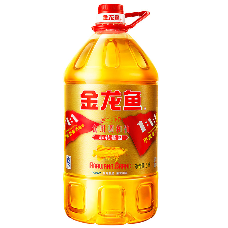 金龍魚 非轉基因黃金比例食用調和油5L 食用油