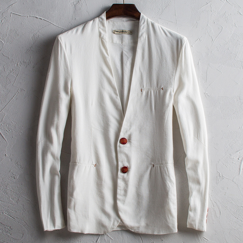 Spring and autumn new style retro coat thin mens linen suit leisure slim cotton hemp suit Chinese original mens wear