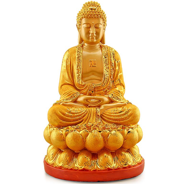 礼艺佳 开光大日如来摆件释迦牟尼佛祖金佛像供奉工艺酒柜装饰品