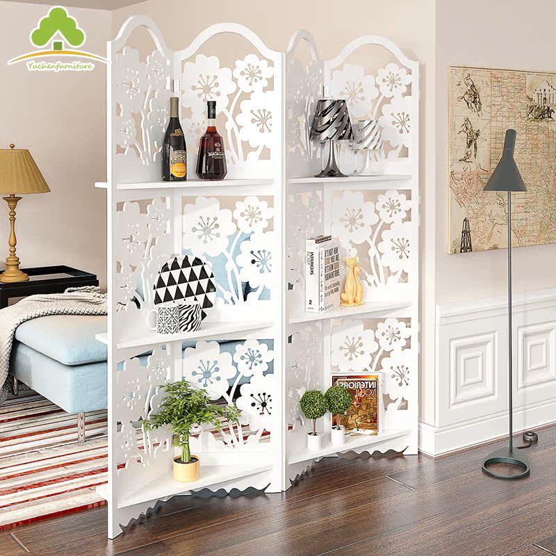 簡約歐式 白色屏風客廳隔斷玄關折疊座屏鏤空雕花田園臥室折屏