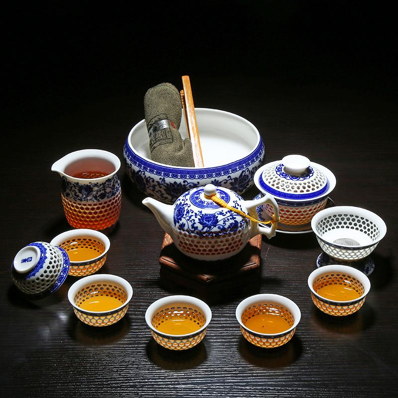 青花瓷玲瓏茶具套裝蜂窩鏤空整套陶瓷功夫茶具茶壺茶杯茶洗蓋碗