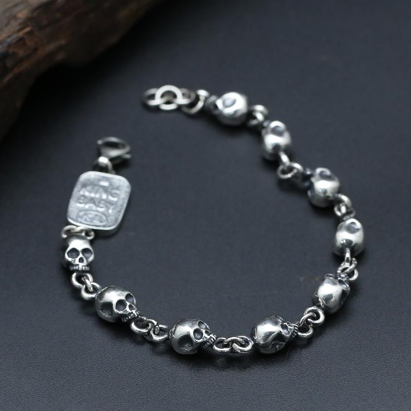 新款包邮S925纯银饰品韩版潮流个性骷髅手链泰银复古男女款银链子