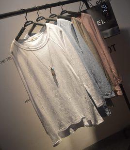 宽松大码长袖纯色白T恤女春装学生韩国东大门竹节棉内搭打底衫潮