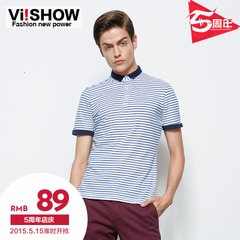 Trend viishow men's striped polo shirt with short sleeves in summer slim Navy casual Paul shirt