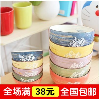 创意日式和风韩式 景德镇陶瓷碗 吉祥平安五彩碗 情侣碗 米饭碗
