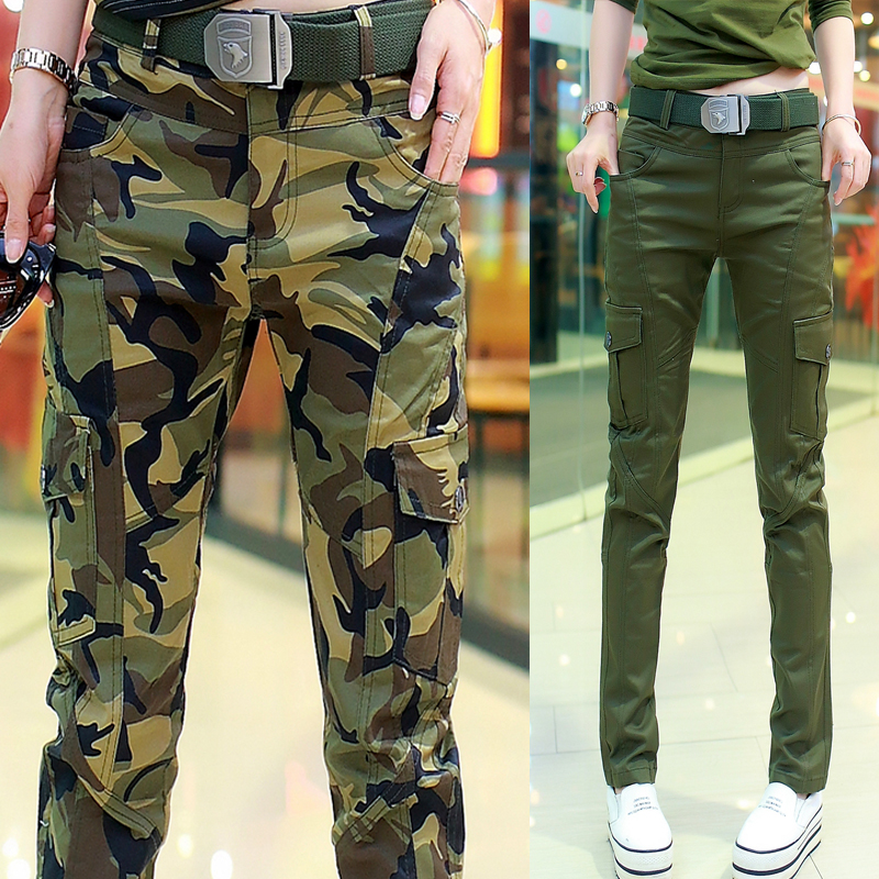 2021 spring, autumn and winter outdoor elastic casual overalls large military uniform Plush Khaki straight tube camouflage pants womens pants