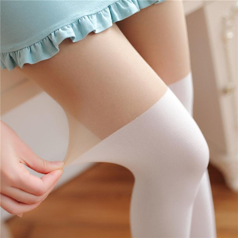 夏季薄款日系个性感假高筒过膝拼接长筒白色打底丝袜连裤袜子显瘦