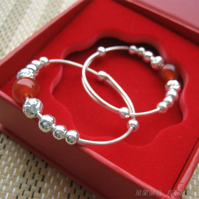 S990 sterling silver inlaid with red agate lovely baby Sterling Silver Bracelet Anklet exquisite packaging package