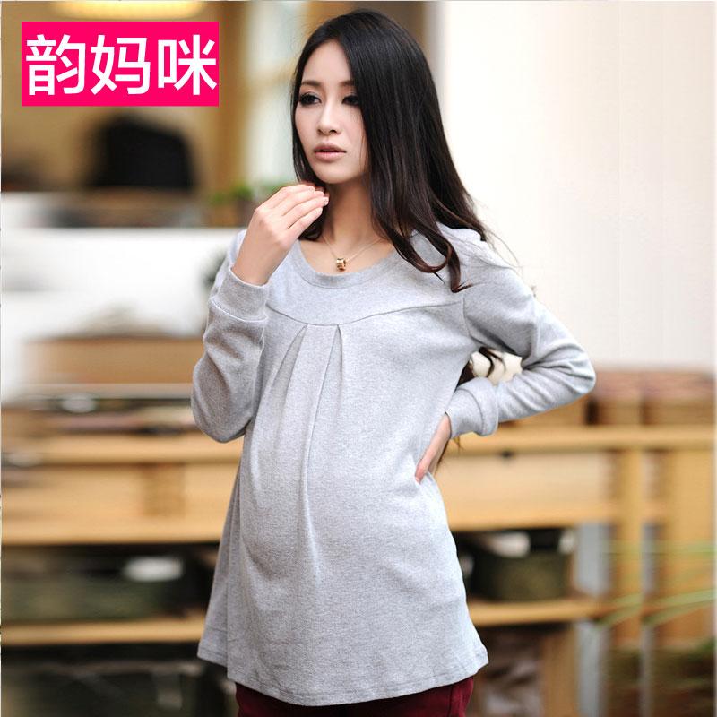 Рубашки и кашемира в конце периода весны и осени у беременных женщин, беременных женщин одежда Осень/Зима носить рубашки с длинными рукавами корейских женщин t рубашка утолщенные базовый слой