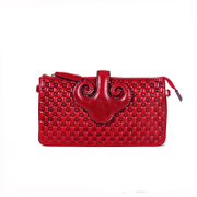 Long national leather clutch bag, beautiful upscale mini embossed leather small bag slung Kanenobu packet