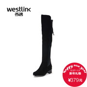 Westlink/West New 2015 winter leather stitching elastic fabric tassel thick skinny women with knee high boots