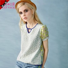 The demon's pocket She eve summer wear short sleeve round collar woman printed stitching bud silk fleece wave point