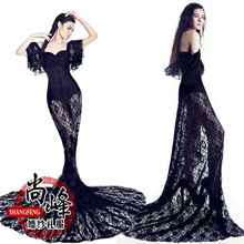 The new studio theme clothing lace trailing skirts theme wedding photography clothing tail costumes E015