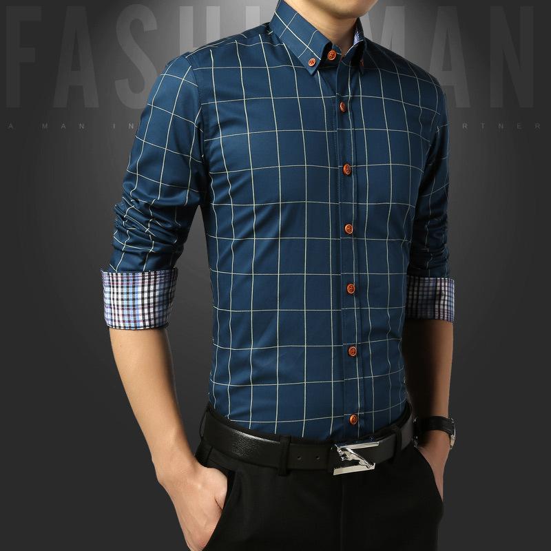 男装长袖衬衫春秋季修身型韩版纯棉格子薄款休闲秋天衬衣寸衫中年
