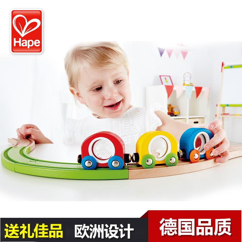 Германия Hape поезд трек часы свет поезд головоломка 1 лет + ребенок игрушка младенец младенец ребенок гладкий деревянный