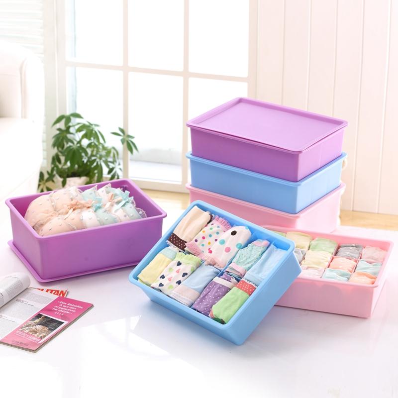 Для хранения белья коробка пластик рабочий стол бюстгальтер трусы носки хранение ящик разбираться коробка плюс есть толстые трёх-составное покрытие