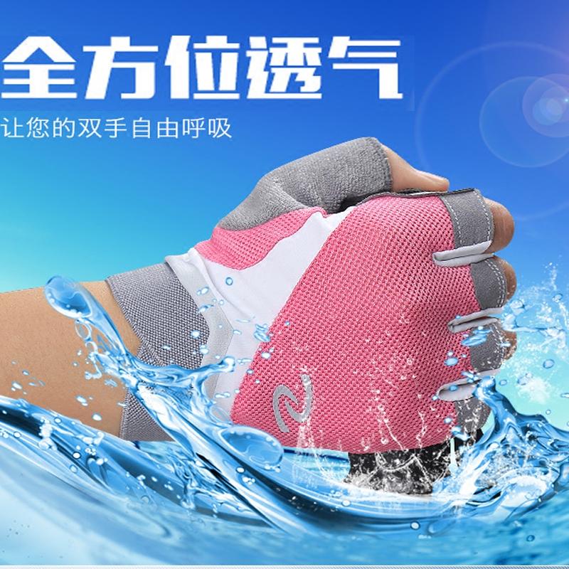半指の手袋の女子学生ネットの布は運動します。日焼け止め自転車でバドミントンをします。