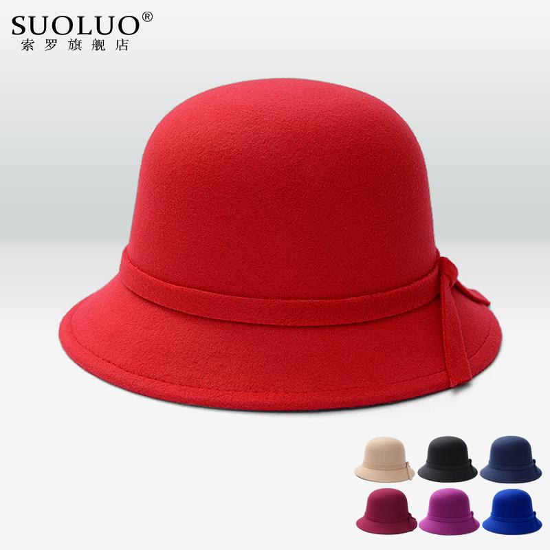 圓頂禮帽 天毛呢盆帽漁夫帽英倫複古戶外遮陽氈帽子女
