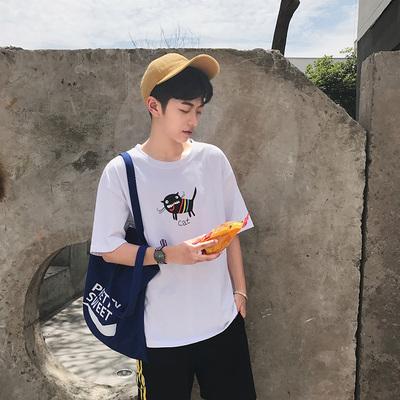 2017夏港风卡通小猫印花宽松短袖T恤 3809-P38