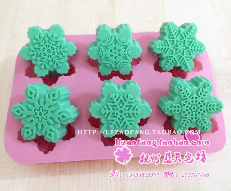 Мыло ручной работы xj492 силиконовые торт плесень плесень шесть отверстие снежинка формы выпечки формы оптом