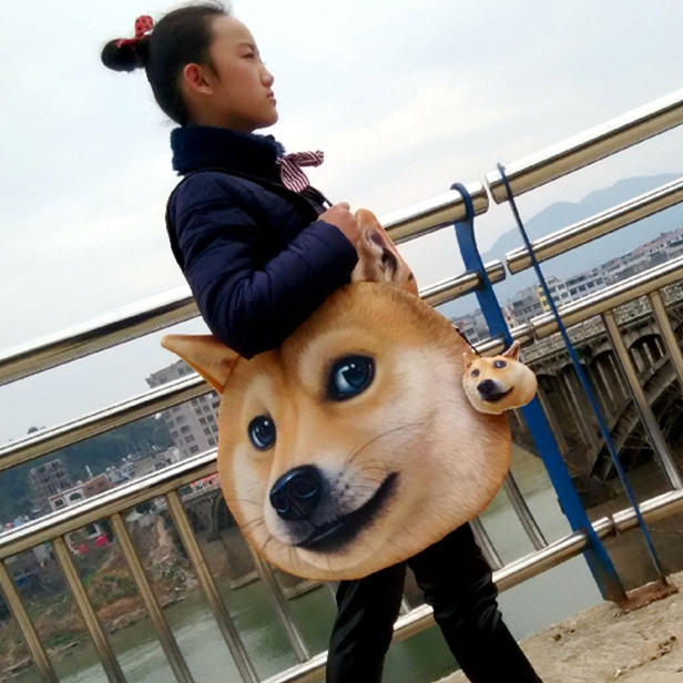 3D shenfan dog spirit pollution funny Doge Qiutian dog husky big satchel tidal bag handbag single shoulder bag female