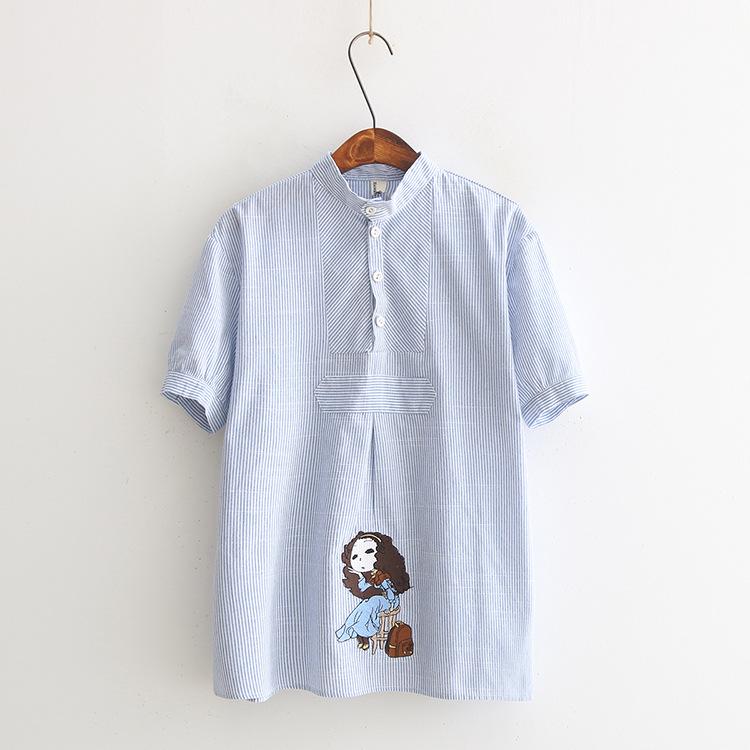 外贸原单欧美风新款蓝裙女孩刺绣印花条纹立领短袖衬衫出口尾单