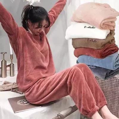 Fairy warm pants suit coral velvet home pajamas loose casual large size wear with top lazy pants