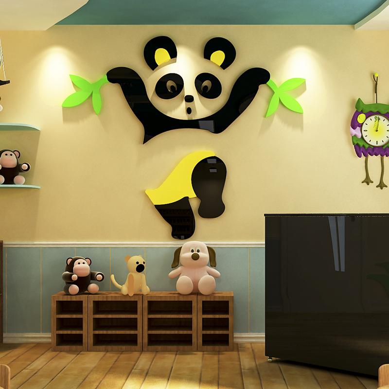 卡通熊貓水晶亞克力3d立體牆貼畫寶寶兒童房幼兒園臥室房間裝飾品