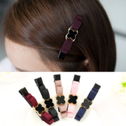 Know Connie hair accessories Korean sweet temperament bang four leaf clover pin fabric bow clip Duckbill clip jewelry