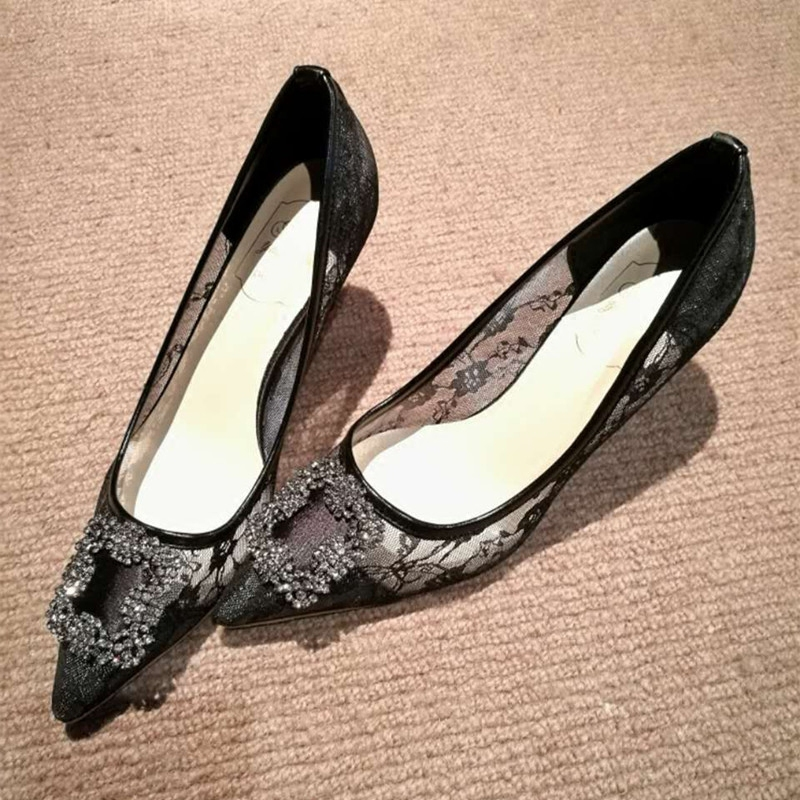 Spot MaoYuan sweet lace Rhinestone pointed embossed net high heeled womens shoes single shoes