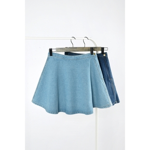 European and American style retro spring AA side zipper denim skirt big skirt umbrella skirt waist skirts skirt big yards