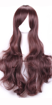 Dark brown inclined bang wig on sale in Europe and the united daily wig False contract mail