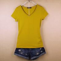 纯棉短袖t恤女V领夏装韩范修身大码瑜伽运动打底衫纯色半袖女体恤