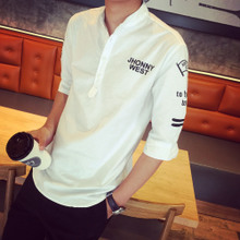 Neutral curved les a handsome T wave Lin men's five points of new fund of 2015 autumn sets han edition loose collar short sleeve shirt