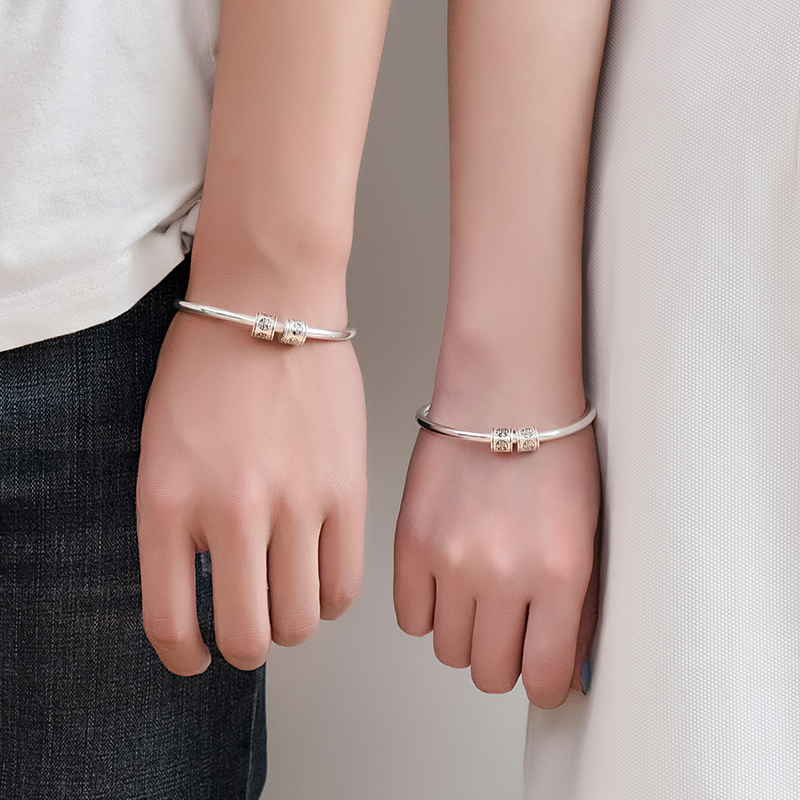 Peninsula lovers Bracelet men and women 999 pure silver simple Japanese and Korean lettering silver bracelet birthday gift for girlfriend