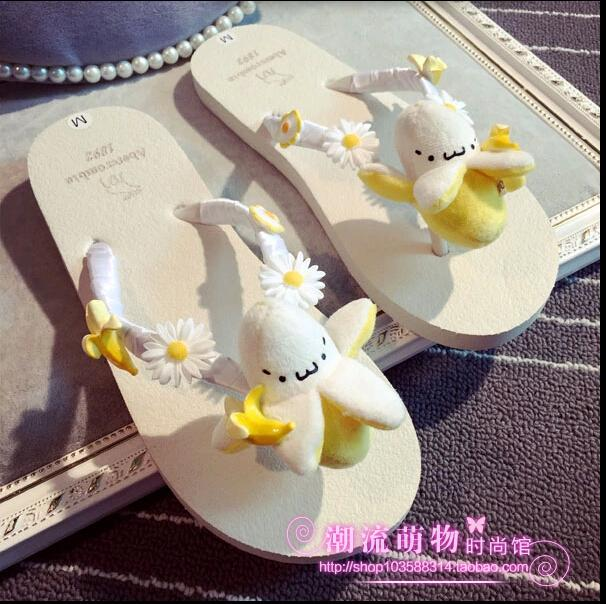 Korean summer handmade slippers cartoon animal banana Daisy Big Flower Beach Holiday flat bottomed womens slippers