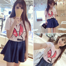 The new female Han Fan 2015 summer Cultivate one's morality show thin cartoon printing head round collar short sleeve T-shirt frock