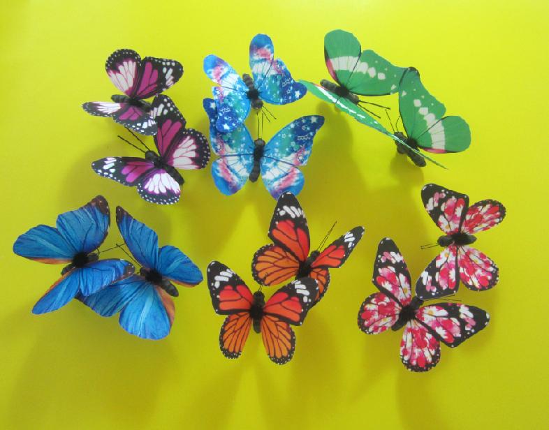 3d仿真蝴蝶立体墙贴纸画客厅卧室儿童房温馨冰箱帘柜台装饰2只装