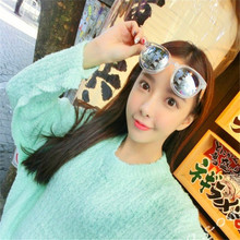 The new ms color film sunglasses arrow oval round silver reflective color glasses sunglasses fashion and personality