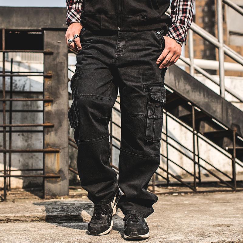 潮胖加肥加大码多袋黑色牛仔裤男 嘻哈宽松工装裤 肥佬大号滑板裤